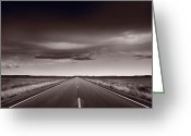 Great Plains Greeting Cards - Great Plains Road Trip BW Greeting Card by Steve Gadomski