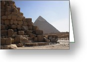 On-the-look-out Greeting Cards - Great Pyramids Khafre Greeting Card by Darcy Michaelchuk