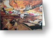 Cavern Greeting Cards - Great Room at Lascaux Greeting Card by Ericka Herazo