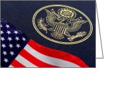 Spangled Greeting Cards - Great Seal of the United States and American Flag Greeting Card by Olivier Le Queinec