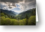 Appalachian Trail Greeting Cards - Great Smoky Mountains Landscape Photography - Spring at Mortons Overlook Greeting Card by Dave Allen