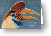 Hornbill Painting Greeting Cards - Greater Sulawesi Hornbill Greeting Card by Svetlana Ledneva-Schukina