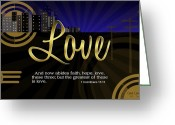 Bible Scripture Canvas Greeting Cards - Greatest Love Greeting Card by Greg Long