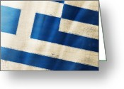 Weathered Greeting Cards - Greece flag Greeting Card by Setsiri Silapasuwanchai
