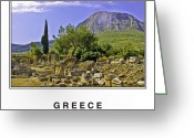Blue Cobblestone Greeting Cards - Greece Greeting Card by Madeline Ellis
