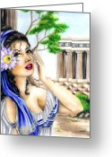 World Series Greeting Cards - Greecian Lotus Greeting Card by Scarlett Royal
