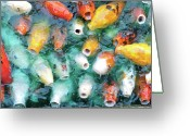 Large Group Of Animals Greeting Cards - Greedy Koi Greeting Card by Ext You Would Like To Appear As A Byline For Your Photos.