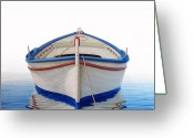 Row Greeting Cards - Greek Boat Greeting Card by Horacio Cardozo