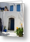 Warm Greeting Cards - Greek doorway Greeting Card by Jane Rix