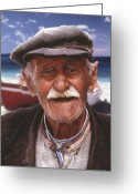 Thira Photo Greeting Cards - Greek Fisherman Greeting Card by Ron Schwager