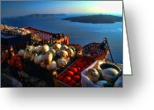 Horizon Over Water Greeting Cards - Greek food at Santorini Greeting Card by David Smith