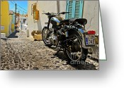 Motorbike Greeting Cards - Greek Island Royal Enfield Greeting Card by Meirion Matthias