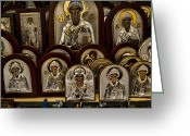 Church Photo Greeting Cards - Greek Orthodox Church Icons Greeting Card by David Smith