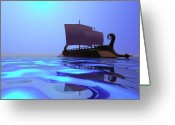 Sailboat Picture Greeting Cards - Greek Ship Greeting Card by Corey Ford
