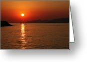 Crete Greeting Cards - Greek sunrise Greeting Card by Paul Cowan