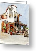 Europe Painting Greeting Cards - Greek Taverna. Greeting Card by Mike Lester