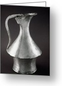 Silver Pitcher Greeting Cards - GREEK WINE JUG, c325-350 B.C Greeting Card by Granger