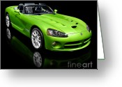Super Car Greeting Cards - Green 2008 Dodge Viper SRT10 Roadster Greeting Card by Oleksiy Maksymenko