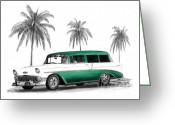 Pencil Greeting Cards - Green 56 Chevy Wagon Greeting Card by Peter Piatt