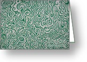 White And Green Greeting Cards - Green Abstract Greeting Card by Mandy Shupp