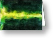 Pen Pastels Greeting Cards - Green Abstract Greeting Card by Russ Harris
