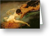 Lovers Greeting Cards - Green Abyss Greeting Card by Giulio Aristide Sartorio