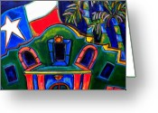 Alamo Greeting Cards - Green Alamo Greeting Card by Patti Schermerhorn