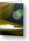 Green Print Glass Art Greeting Cards - Green and Gold Abstract Greeting Card by Dana Kern