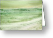 Surf Art Greeting Cards - Green and Gold  Greeting Card by Linde Townsend