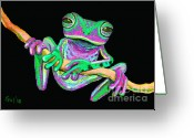 Amphibians Greeting Cards - Green and Pink Frog Greeting Card by Nick Gustafson