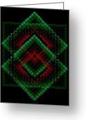 Style Greeting Cards - Green and Red Geometric Design Greeting Card by Mario  Perez