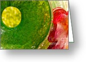 Red Greeting Cards - Green and Red Greeting Card by Laura Wrede