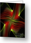 Red Lines Greeting Cards - Green and Red Lines Greeting Card by Deborah Benoit