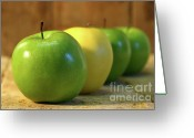 Crisp Greeting Cards - Green and yellow apples Greeting Card by Sandra Cunningham