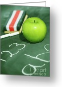 Pencil Greeting Cards - Green apple for school Greeting Card by Sandra Cunningham