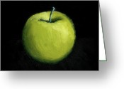 Food And Beverage Greeting Cards - Green Apple Still Life Greeting Card by Michelle Calkins