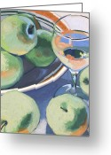 Food And Beverage Painting Greeting Cards - Green Apples and Pinot Grigio Greeting Card by Christopher Mize