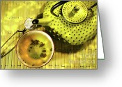 Cup Photo Greeting Cards - Green asian teapot with cup  Greeting Card by Sandra Cunningham