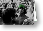 Live Music Greeting Cards - Green Bandana Greeting Card by Joe Hickson