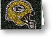 Aaron Greeting Cards - Green Bay Packers Bottle Cap Mosaic Greeting Card by Paul Van Scott