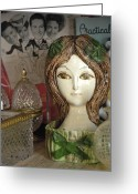 Ceramic Sculpture Greeting Cards - Green Bows Greeting Card by Liezel Rubin