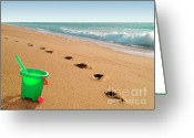 Shovel Greeting Cards - Green Bucket  Greeting Card by Carlos Caetano