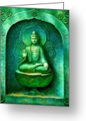 Buddha Art Greeting Cards - Green Buddha Greeting Card by Sue Halstenberg