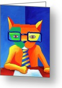 Business Painting Greeting Cards - Green Business Cat Greeting Card by Mike Lawrence