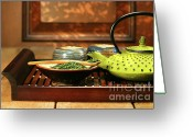Asia Greeting Cards - Green cast iron teapot Greeting Card by Sandra Cunningham