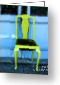 Vintage Chair Greeting Cards - Green Chair Greeting Card by Perry Webster