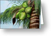 Cuban Painter Greeting Cards - Green Coconuts- 01 Greeting Card by Dominica Alcantara