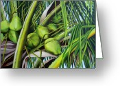 Dominica Alcantara Greeting Cards - Green Coconuts- 03 Greeting Card by Dominica Alcantara