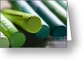 Oil Pastel Greeting Cards - Green crayons Greeting Card by Frank Tschakert