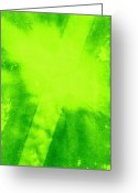 Abstract Art Tapestries - Textiles Greeting Cards - Green Cross Greeting Card by Brandi Webster